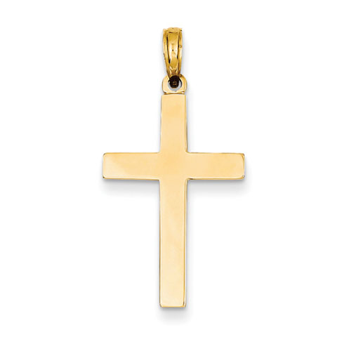 14k Yellow Gold Simple Latin Cross Pendant 1in