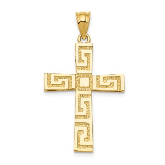 14k Yellow Gold Tapered Greek Key Cross Pendant 1in
