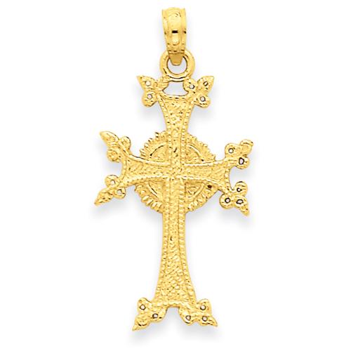 14k Yellow Gold 1in Armenian Cross Pendant