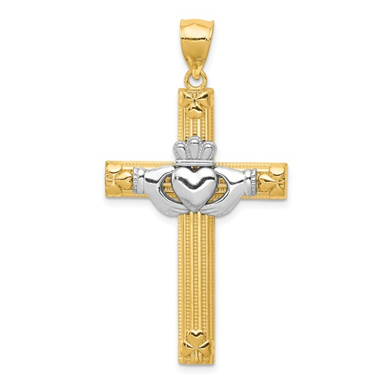 14kt Two-tone Gold 1 1/2in Claddagh Cross with Hearts