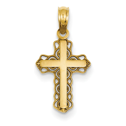 14kt Yellow Gold 7/8in Budded Filigree Cross