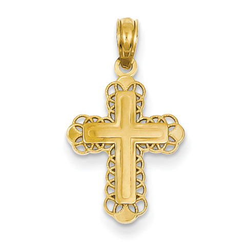 14kt Yellow Gold 11/16in Filigree Budded Cross