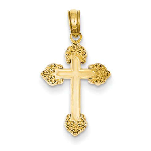 14kt Yellow Gold 3/4in Budded Cross with Vine Design