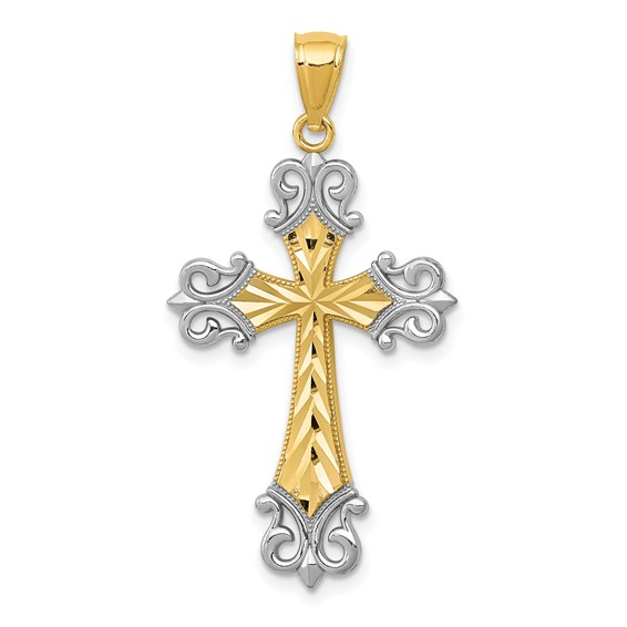 14kt Gold and Rhodium 1 1/8in Cross
