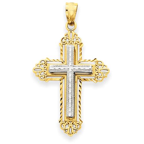 14kt Two-tone Gold 1in Fleur de lis Cross