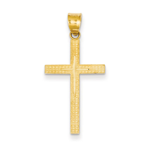 14kt Yellow Gold 1in Diamond-Cut Latin Cross Pendant