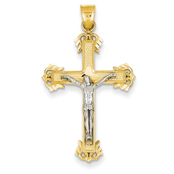 14kt Two-tone Gold 1 3/16in Diamond Cut Crucifix