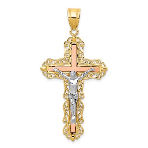 14kt Tri-Color Gold 1 1/2in Diamond-Cut Crucifix Pendant