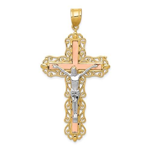 14kt Tri-Color Gold 2in Diamond-Cut Crucifix