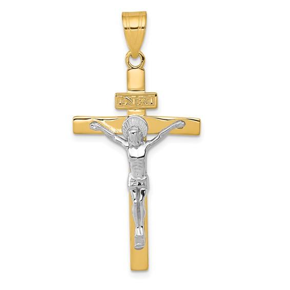 14kt Two-tone Gold 1 1/4in INRI Crucifix Pendant
