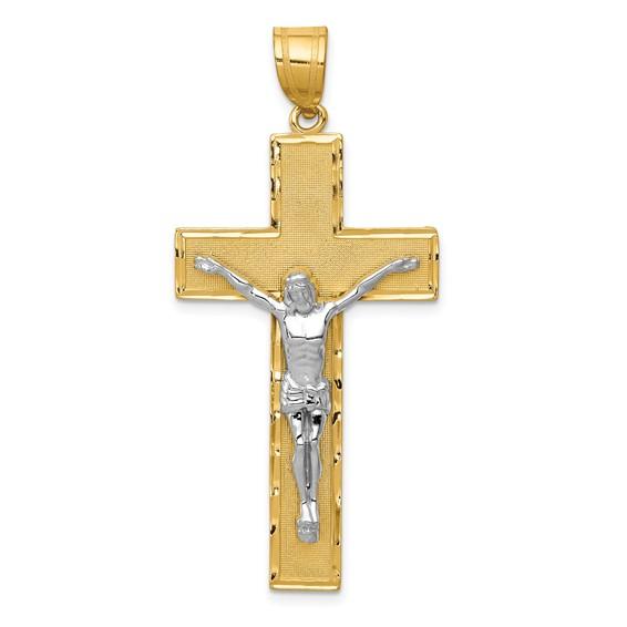 14kt Two-tone 1 5/8in Diamond -Cut Crucifix Pendant