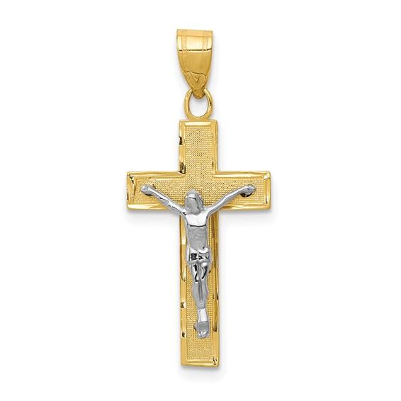 14k Two-tone Gold Diamond Cut Crucifix 7/8in