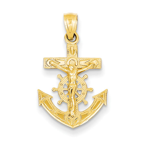 14kt Yellow Gold 11/16in Mariners Crucifix Pendant