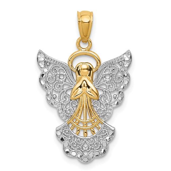 14k Yellow Gold & Rhodium 3/4in Filigree Angel Pendant