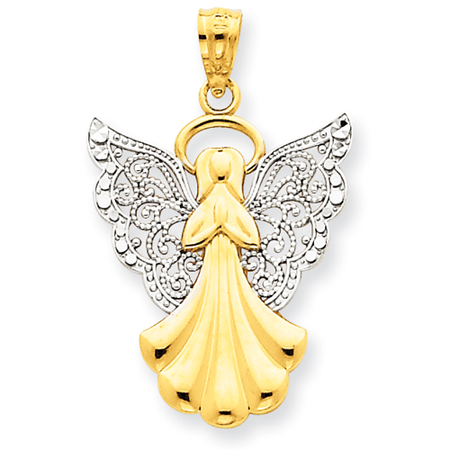 14k Yellow Gold Rhodium Filigree Angel Pendant 3/4in