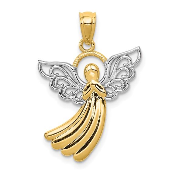 14k Yellow Gold Rhodium 3/4in Filigree Angel Pendant