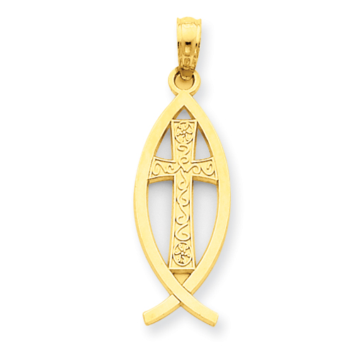 14k Yellow Gold 7/8in Ichthus Fish Pendant with Cross
