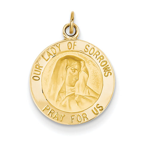 14k Yellow Gold Our Lady of Sorrows Medal Charm 9/16in