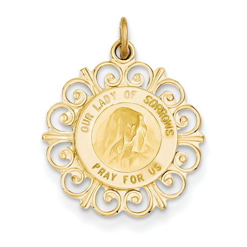 Fancy Our Lady of Sorrows Pendant 11/16in 14k Yellow Gold