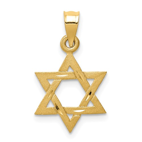 14k Solid 9/16in Satin Star of David Charm