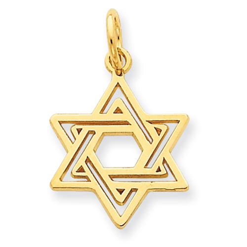 14k Yellow Gold Jewish Star of David Charm 5/8in