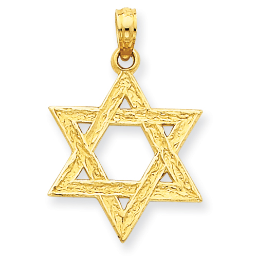 14k Yellow Gold 3/4in Textured Star of David Pendant