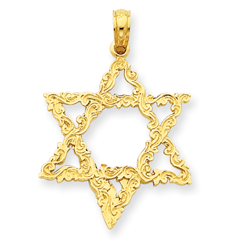 14k Yellow Gold Star of David Pendant with Fancy Texture 7/8in