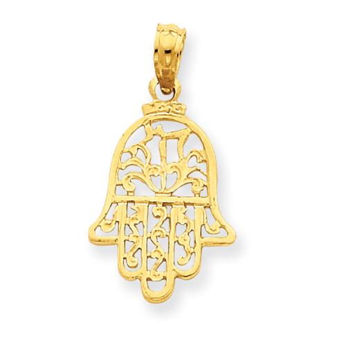 14kt Yellow Gold 5/8in Chamseh Pendant