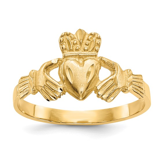 14kt Yellow Gold Satin Claddagh Ring