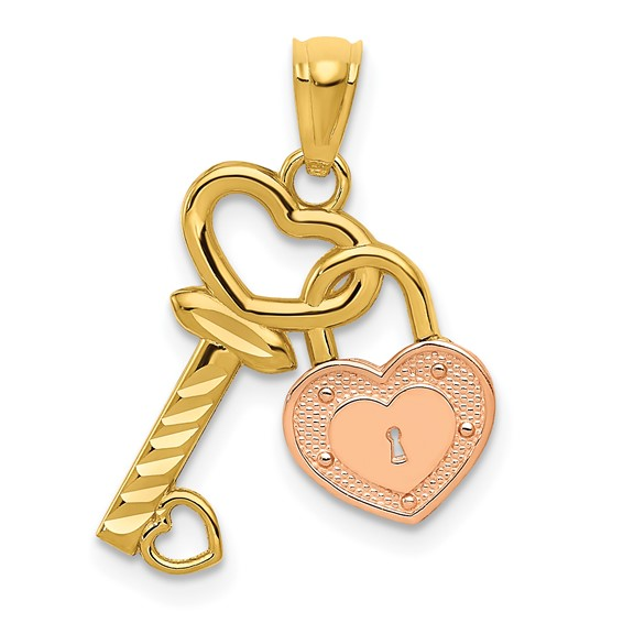 14kt Two-tone Gold 3/4in Heart Lock and Key Pendant