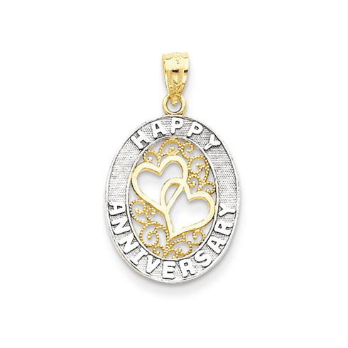 14kt Two-tone Gold 3/4in Oval Happy Anniversary Charm