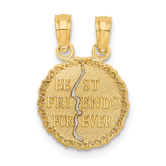 14kt Yellow Gold 3/4in Best Friends Forever Charm