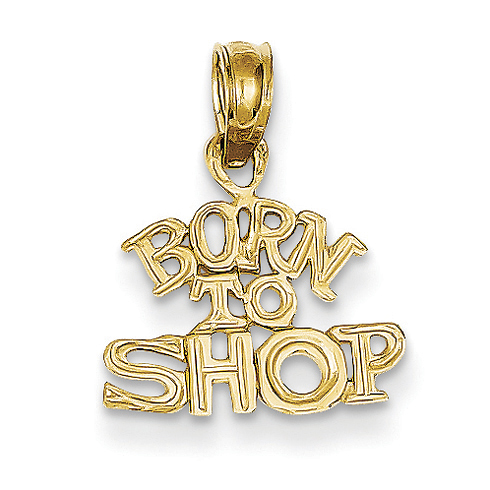14kt Yellow Gold Born to Shop Pendant