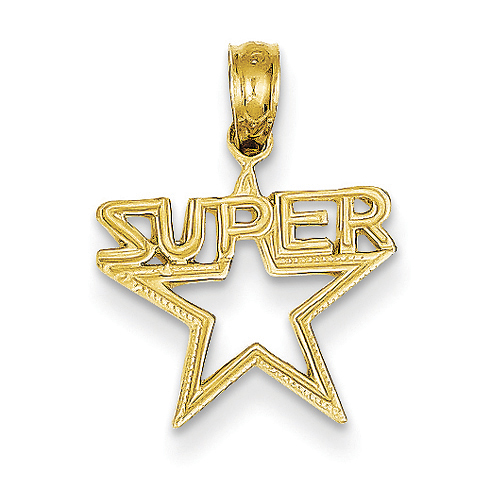 14kt Yellow Gold Polished Super Star Pendant