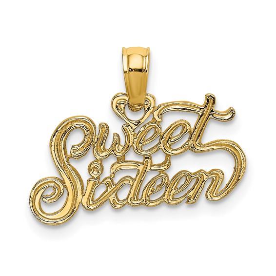 14kt Yellow Gold Sweet Sixteen Script Charm