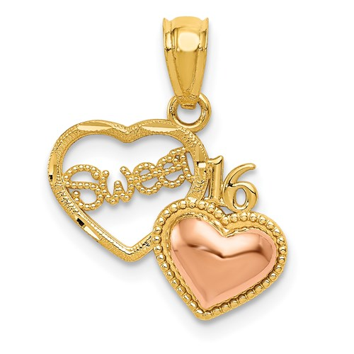 14kt Two-tone Gold Two Hearts Sweet 16 Charm