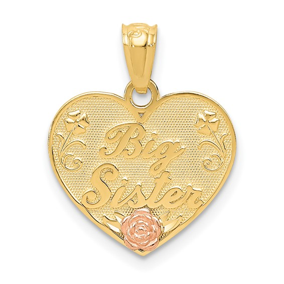 14kt Two-tone Gold Big Sister Heart Flower Pendant