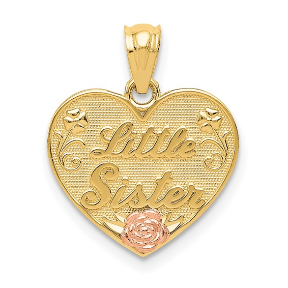14kt Two-tone Gold Little Sister Heart Pendant with Flowers
