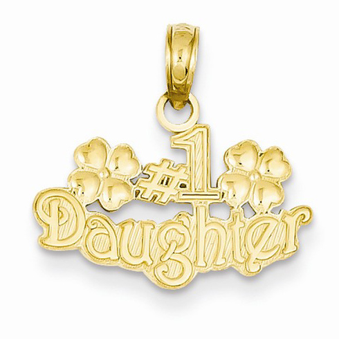 14kt Yellow Gold #1 Daughter Pendant with Flowers