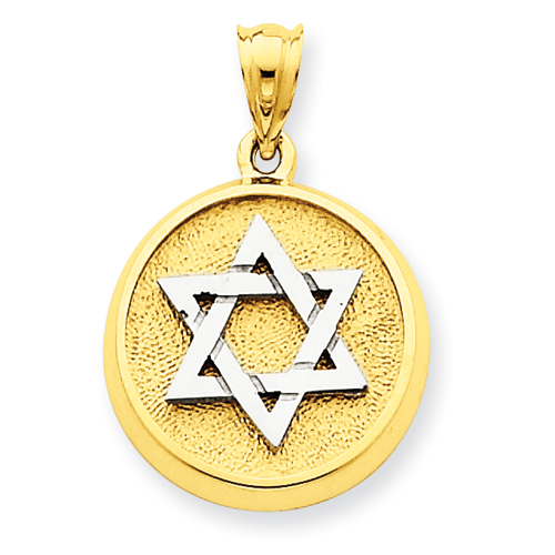 14k Two-Tone 5/8in Solid Satin Finish Flat Back Star of David Disc Charm