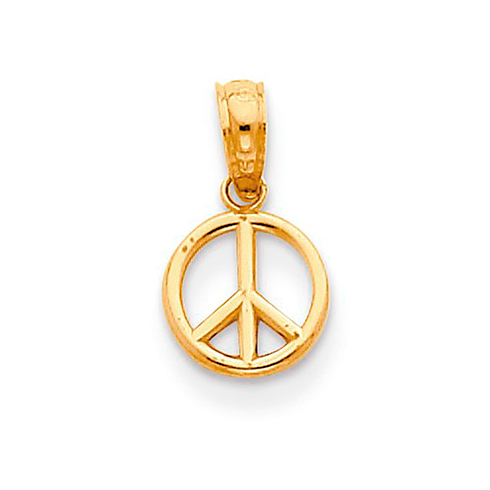 14k Yellow Gold 1/4in Peace Symbol Charm