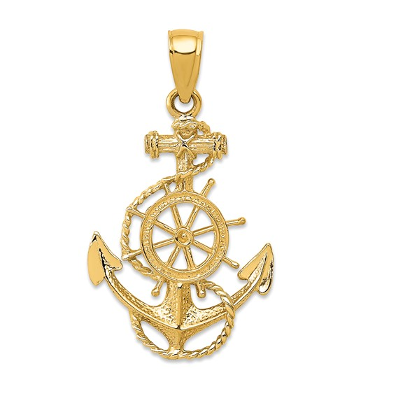 14kt Yellow Gold 1in Anchor and Wheel Pendant with Rope