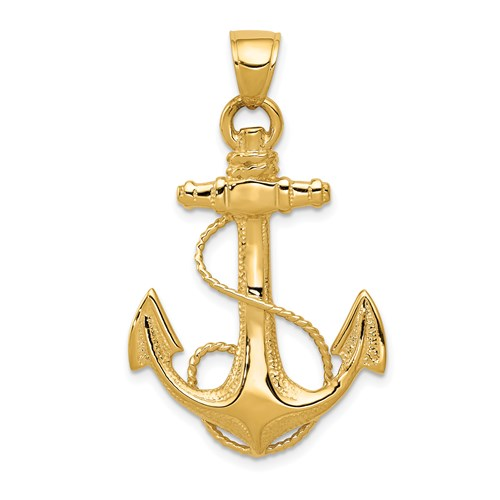 14kt Yellow Gold 1 1/4in Anchor Pendant with Rope