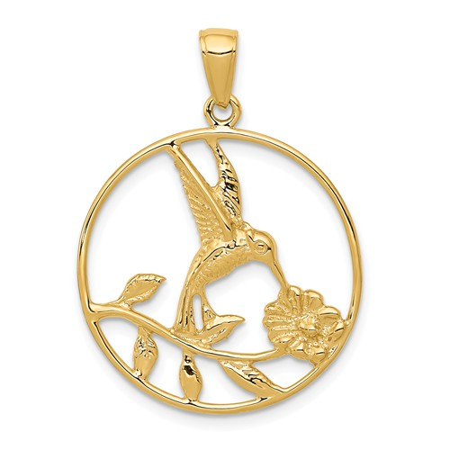 14k Yellow Gold Hummingbird Pendant with Round Frame 7/8in