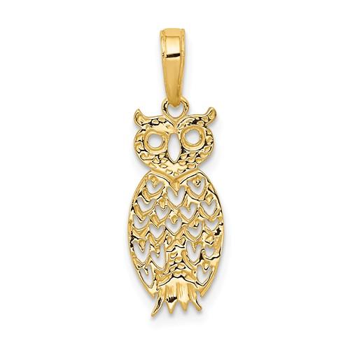 14k Yellow Gold Owl Pendant 3/4in