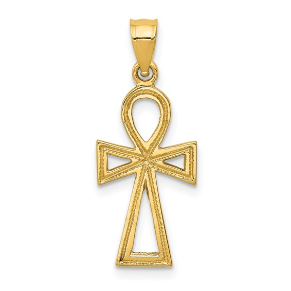 14k Yellow Gold 3/4in Textured Ankh Cross