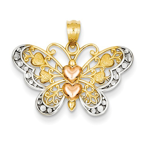 14kt Two-tone Gold 5/8in Diamond-cut Butterfly Pendant