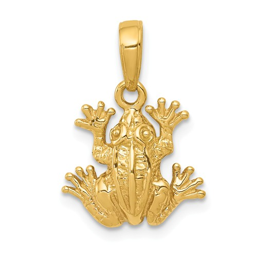 14k Yellow Gold Tree Frog Pendant 1/2in