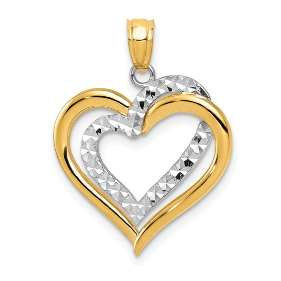 14kt Two-tone Gold 3/4in Heart Pendant
