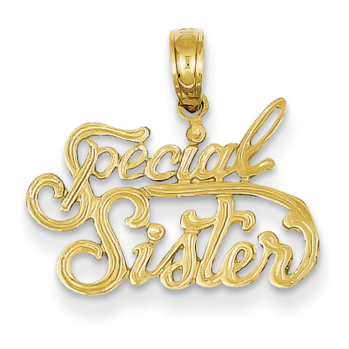 14kt Yellow Gold 1/2in Special Sister Pendant